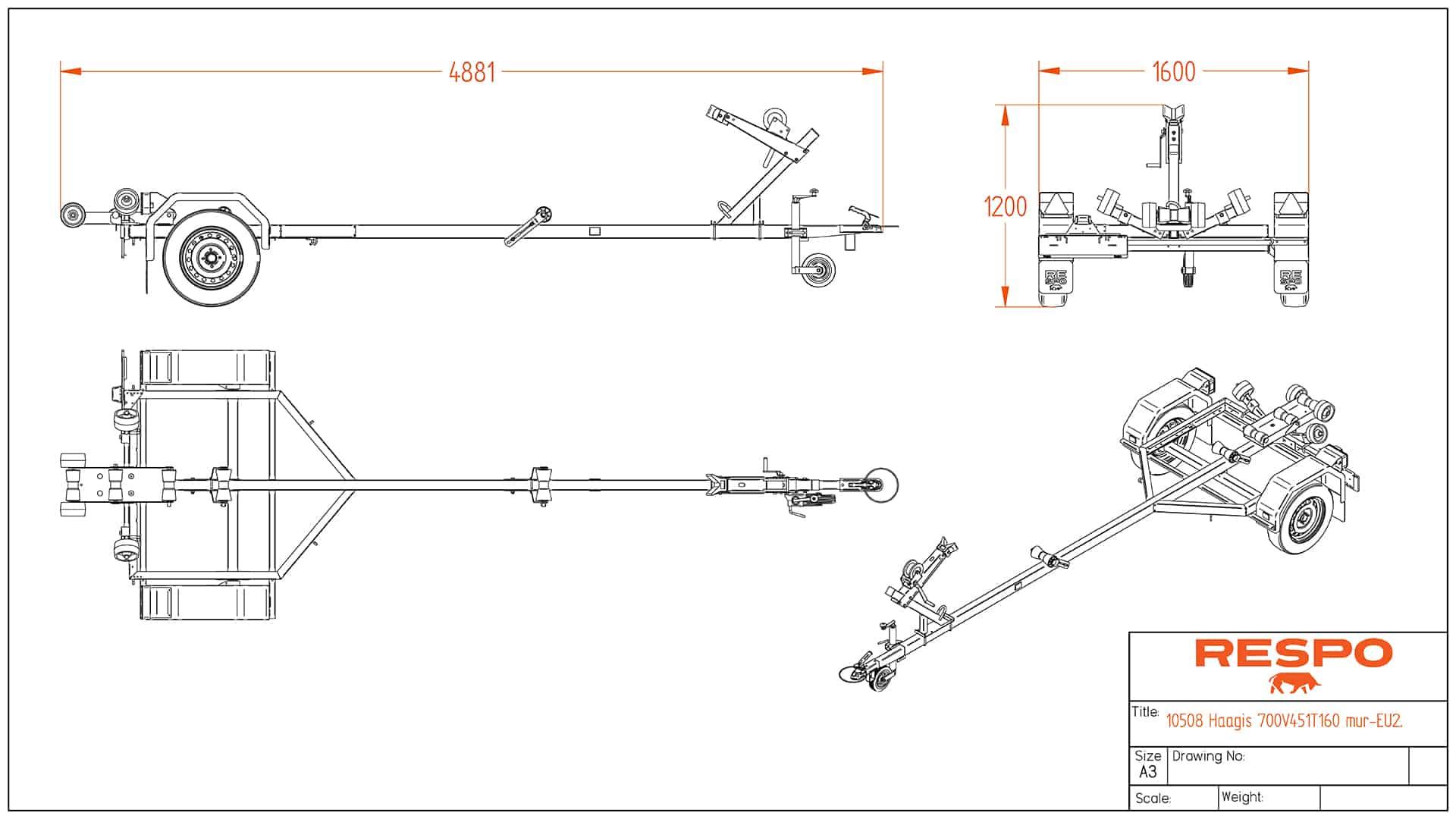 Прицеп для лодок 4.88x1.60